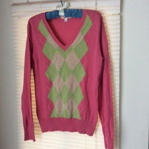 Merona Top Sz L pink cotton blend
